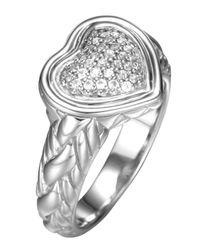 John Hardy | Metallic Diamond Pave Heart Ring | Lyst