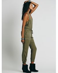 Free People | Green Roaring Rayon Jumpsuit | Lyst