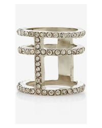 Express | Metallic Pave Cage Ring | Lyst