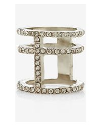 Express | Metallic Pave Cage Ring | Lyst