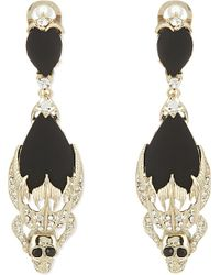 Givenchy - Black Dangle Skull Earrings - Lyst