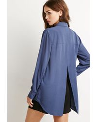 Forever 21 | Blue Vented-back Shirt | Lyst