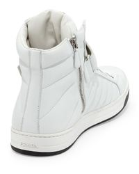 Prada - White Quilted Napa Grip-Strap High-Top Sneaker for Men - Lyst