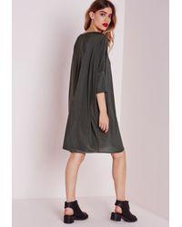 Missguided - Gray Oversized Slinky T-shirt Dress Khaki - Lyst