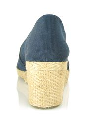Andre Assous - Blue Canvas Espadrille Wedge - Lyst