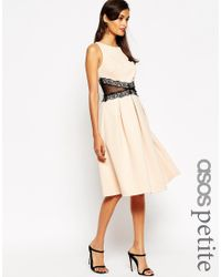 542b31fa1a4b ASOS Debutante Midi Dress With Lace Trim in Black - Lyst