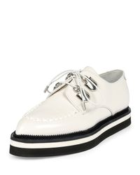 Alexander McQueen - White Leather Lace-up Loafer - Lyst