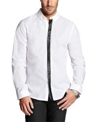 Guess | White Dillon Contrast Placket Dress Shirt for Men | Lyst