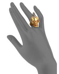 Alexander McQueen - Metallic Crystal Twotone Punk Skull Ring - Lyst