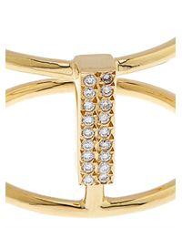 Ileana Makri - Metallic Diamond & Yellow-Gold Double Ring - Lyst