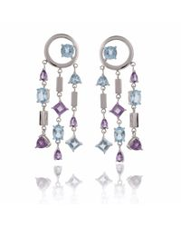 Manja | Multicolor Selatra Blue Topaz & Amethyst Chandelier Earrings | Lyst