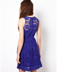 American Retro - Blue Lace Skater Dress - Lyst