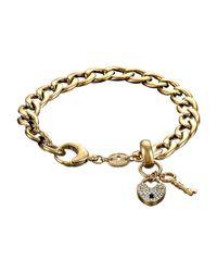 Fossil | Metallic Vintage Steel Charm Bracelet | Lyst
