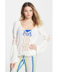 Rip Curl - White 'earth Angel' Peasant Top - Lyst