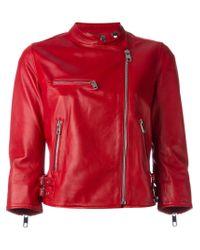 Dolce & Gabbana | Red Cropped Lambskin Biker Jacket | Lyst