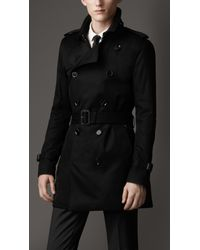 Burberry | Black Technical Cotton Trench Coat for Men | Lyst