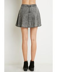 Forever 21 | Gray Acid Wash Denim Skirt | Lyst