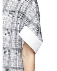 Helen Lee - Gray Asymmetric Hem Rabbit Houndstooth Shift Dress - Lyst
