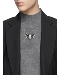 Kenneth Jay Lane | Metallic Crystal Pavé Faux Pearl Spider Necklace | Lyst