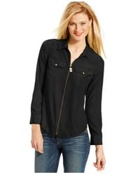 Michael Kors | Black Michael Zip-front Blouse | Lyst