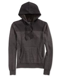 American Rag | Black Mixed-media Striped Hoodie for Men | Lyst