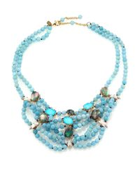 Alexis Bittar | Blue Elements Hemimorphite, Black Mother-of-pearl, Crystal, Howlite & Turquoise Beaded Bib Necklace | Lyst