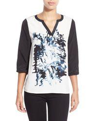 Kensie | Gray Print Front Three Quarter Sleeve Top | Lyst