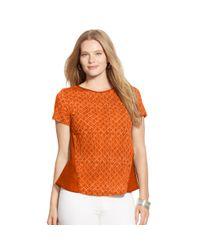 Ralph Lauren - Orange Paneled Linen-cotton Tee - Lyst
