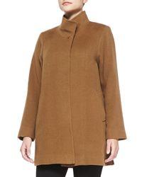 Fleurette | Brown Stand-Collar Camel Hair Coat | Lyst