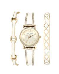 Anne Klein - Metallic Boxed Bracelet & Bangle Watch Set - Lyst