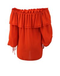 Michael Kors - Orange Off The Shoulder Blouse - Lyst