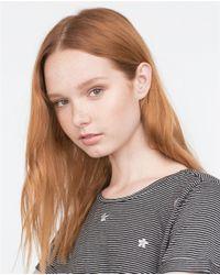 Zara | Gray Printed T-shirt With Appliqués | Lyst