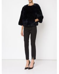 Diane von Furstenberg - Black Cropped Rabbit-Fur Jacket  - Lyst