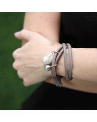 Mizuki | Black Pearl And Diamond Wrap Bracelet | Lyst