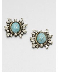 DANNIJO | Metallic Swarovski Crystal Button Earrings | Lyst
