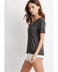 Forever 21 - Gray Faded V-neck Tee - Lyst