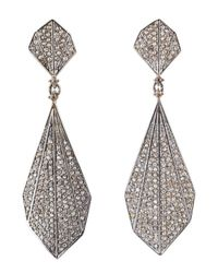 Bavna | Metallic Sterling Silver Champagne Rose Cut Diamond Feather Earring | Lyst