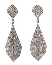 Bavna - Metallic Sterling Silver Champagne Rose Cut Diamond Feather Earring - Lyst