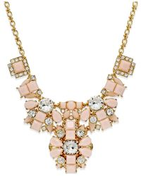 kate spade new york | Metallic Gold-tone Stone And Crystal Long Frontal Necklace | Lyst