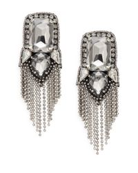 Deepa Gurnani | Metallic Austrian Crystal Fringe Drop Earrings/gunmetal-tone | Lyst