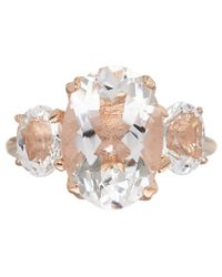 Dinny Hall | Pink Rose Gold Vermeil Rock Crystal Georgia Ring | Lyst