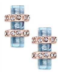 House of Harlow 1960 - Pink Rose Gold-Tone Blue Stone Bar Stud Earrings - Lyst