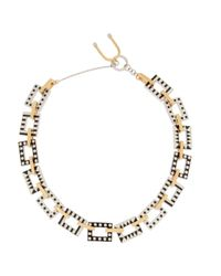 Uribe | Black + Nico Enameled Rhodium-Plated And Gold-Plated Necklace | Lyst