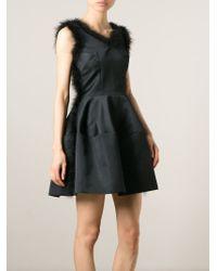 Simone Rocha | Black Fluffy Trim Flared Dress | Lyst