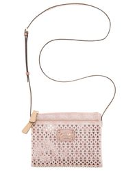 Guess - Pink Park Lane Perforated Petite Double Zip Crossbody - Lyst