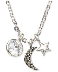 Judith Jack - Metallic Sterling Silver Crystal And Marcasite Moon Multi Charm Necklace - Lyst