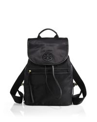 Tory Burch | Black Nylon Flap Backpack | Lyst