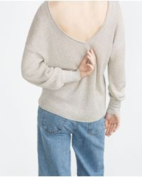 Zara | Gray Double V-neck Sweater | Lyst