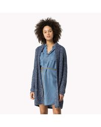 Tommy Hilfiger | Blue Ribbed Long Cardigan | Lyst