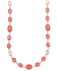 Jones New York | Pink Gold-tone Coral Oval Stones Collar Necklace | Lyst